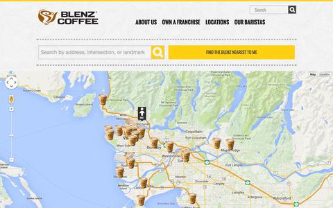 Screenshot of Locations Page blenz.com - LOCATIONS | Blenz Coffee - captured Oct. 5, 2014