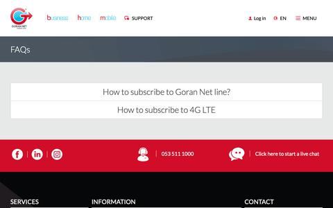 Screenshot of FAQ Page gorannet.net - FAQs - captured Sept. 29, 2018