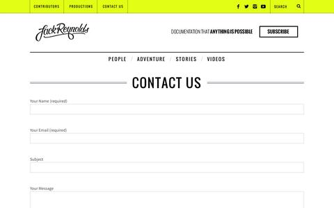Screenshot of Contact Page jack.tv - Contact Us | Jack Reynolds - captured Dec. 16, 2014