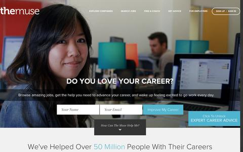 Screenshot of Home Page themuse.com - Search Jobs, Career Advice and Company Profiles at The Muse - captured April 22, 2016