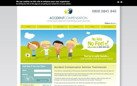 Screenshot of Testimonials Page accident-compensation.co.uk - UK Accident Compensation Solicitor Testimonials from Clients - captured Sept. 30, 2014