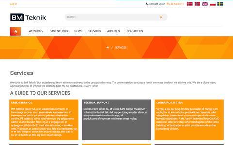 Screenshot of Services Page bm-teknik.com - Services - BM Teknik - captured July 27, 2016