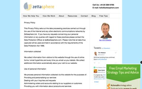 Screenshot of Privacy Page zettasphere.com - Privacy Policy - Zettasphere - captured Aug. 26, 2016