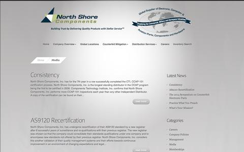 Screenshot of Press Page nscomponents.com - Media Archives - North Shore Components, Inc. - captured Oct. 26, 2014