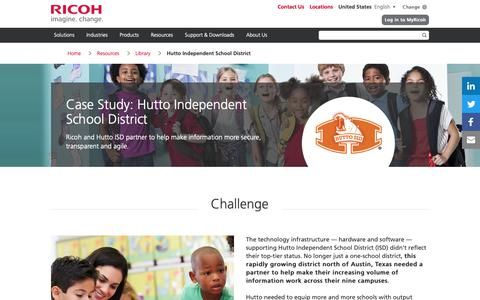 Screenshot of Case Studies Page ricoh-usa.com - Hutto Independent School District - captured Jan. 3, 2019