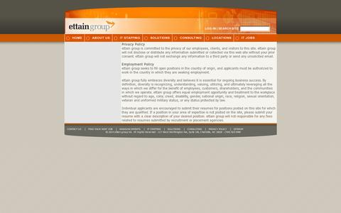 Screenshot of Privacy Page ettaingroup.com - ettain group - Privacy Statement - captured July 19, 2014
