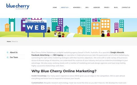 Screenshot of About Page bluecherry.com.au - Digital Marketing Agency Perth | SEO Agency Perth | Blue Cherry Online - captured Oct. 6, 2018