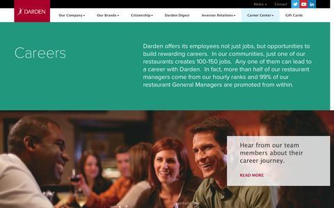 Screenshot of Jobs Page darden.com - Career Opportunities and Information   Darden Restaurants - captured Nov. 14, 2015