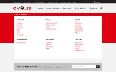 Screenshot of Site Map Page evolis.com - Sitemap | Evolis - captured July 21, 2018