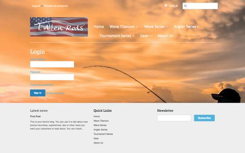 Screenshot of Login Page tallenrods.com - Account – t-allen-rods - captured Nov. 5, 2014