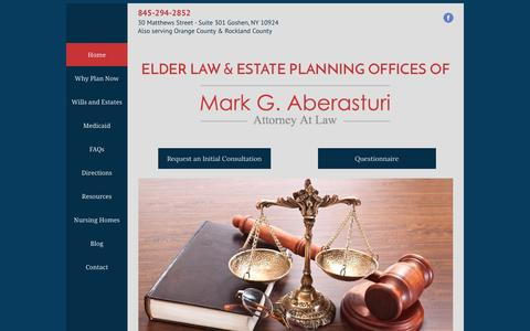 Screenshot of Home Page ny-elderlaw.com - Mark G. Aberasturi, Attorney at Law | Goshen, NY - captured April 8, 2017