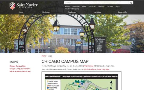 Screenshot of Maps & Directions Page sxu.edu - Chicago Campus Map | Saint Xavier University - captured Sept. 24, 2018