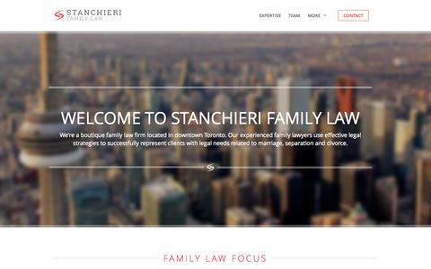 Screenshot of Home Page stanchierifamilylaw.com - Family Lawyers, Divorce Lawyers in Toronto - captured Jan. 31, 2015