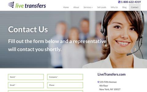 Screenshot of Contact Page livetransfers.com - Contact - Live Transfers - captured Dec. 12, 2015