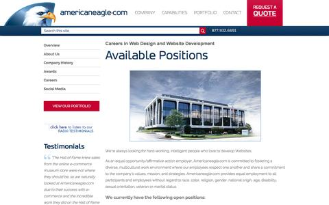 Screenshot of Jobs Page americaneagle.com - Jobs | Web Design and Web Programmer Careers | Americaneagle.com, Inc. - captured Sept. 10, 2015