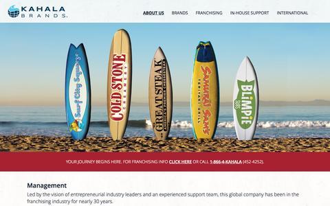 Screenshot of Team Page kahalamgmt.com - Kahala Brands' Restaurant Franchising Management - captured Sept. 19, 2014
