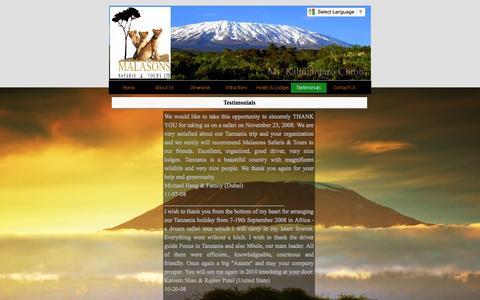 Screenshot of Testimonials Page malasonssafaris-tours.com - Testimonials - Malasons Tanzania Safari and Tours Ltd - Competitive Tanzania Safari Holidays in Tanzania - captured Nov. 2, 2014