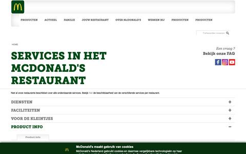 Screenshot of Services Page mcdonalds.nl - SERVICES IN HET MCDONALD'S RESTAURANT | McDonald's - captured June 23, 2019