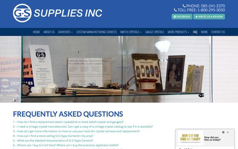Screenshot of FAQ Page gssupplies.com - Hobby & Craft Adhesives in Rochester, NY | G-S Supplies, Inc. - captured July 7, 2017
