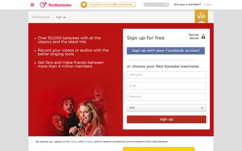 Screenshot of Signup Page redkaraoke.com - Register on Red Karaoke, the free online karaoke - captured Feb. 15, 2016