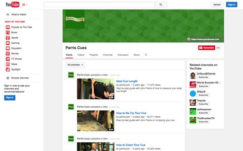 Screenshot of YouTube Page youtube.com - Parris Cues  - YouTube - captured Oct. 22, 2014