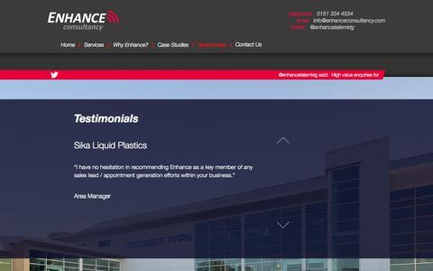 Screenshot of Testimonials Page enhanceconsultancy.com - Testimonials | Enhance Consultancy - captured Oct. 2, 2014