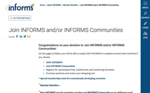 Screenshot of Signup Page informs.org - Join INFORMS and/or INFORMS Communities - INFORMS - captured May 27, 2017