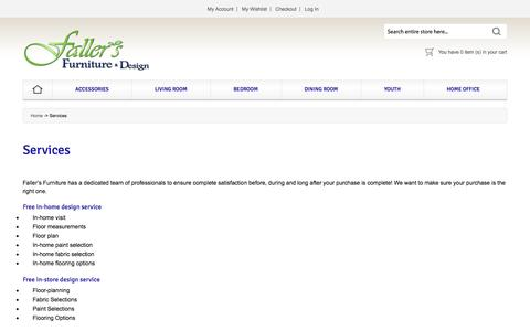 Screenshot of Services Page fallersfurniture.com - Fallers Furniture - Services - captured Oct. 29, 2014