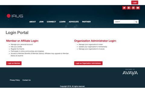 Screenshot of Login Page iaug.org - Login Portal - International Avaya Users Group - captured Oct. 3, 2018