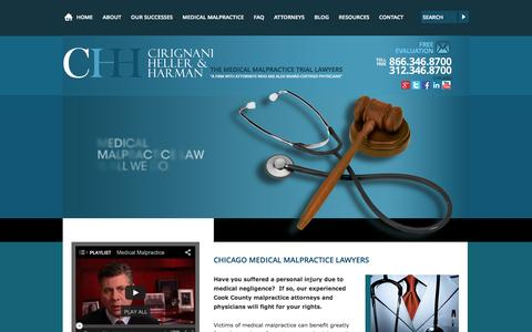 Screenshot of Home Page cirignani.com - Chicago Medical Malpractice Attorney | Cook County Illinois Medical Injury Lawyer | Cirignani Heller & Harman, LLP - captured Oct. 2, 2014