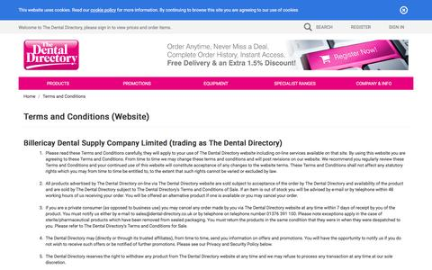 Screenshot of Terms Page dental-directory.co.uk - The Dental Directory : Dental Supply Terms & Conditions of sale - captured Feb. 15, 2016