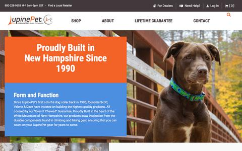 Screenshot of About Page lupinepet.com - About us, our premium pet gear & our NH workshop - Lupine Pet - captured Sept. 22, 2018