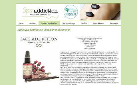 Screenshot of Products Page spaaddictionbiz.com - Spa Addiction Business Specialists | Product Distribution - captured Oct. 23, 2017