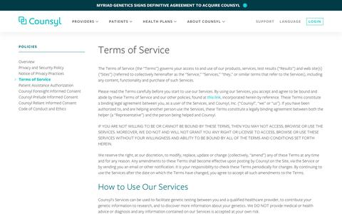 Screenshot of Terms Page counsyl.com - Terms of Service — Counsyl - captured June 8, 2018