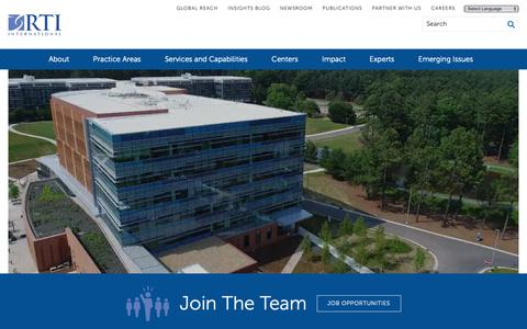 Screenshot of Jobs Page rti.org - Careers | RTI - captured Feb. 25, 2019