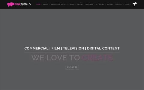 Screenshot of Home Page pinkbuffalofilms.com - Video Production Service - On Demand Production Network - captured June 17, 2015