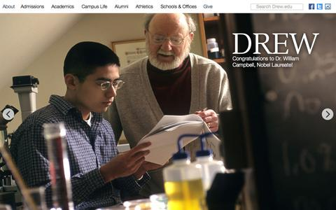 Screenshot of Home Page drew.edu - Drew University - captured Oct. 5, 2015
