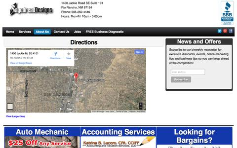 Screenshot of Maps & Directions Page sagedread.net - Directions | Sagedread Designs LLC - captured Oct. 3, 2014