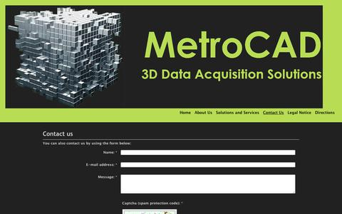 Screenshot of Contact Page metrocad.co.uk - MetroCAD 3D Laser Scanning Data Acquisition Solutions for and existing Plant, Machinery or Architechture - Contact Us - captured Oct. 18, 2017