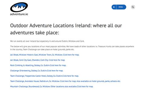 Screenshot of Locations Page adventure.ie - Outdoor Adventure Locations Ireland | Adventure Agency Ireland - captured Oct. 7, 2017