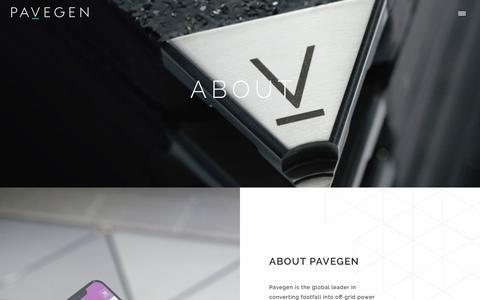 Screenshot of About Page pavegen.com - Pavegen | About - captured May 30, 2019