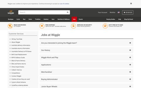 Screenshot of Jobs Page wiggle.co.uk - Wiggle Customer Services - captured Aug. 8, 2018