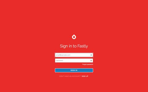 Screenshot of Login Page fastly.com - Fastly - captured Aug. 11, 2018