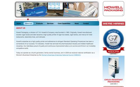 Screenshot of About Page howellpkg.com - About us | Howell Packaging - captured Sept. 25, 2018