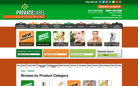 Screenshot of Products Page privatelabelsupplement.com - Browse Our Private Label Supplement Product Index: Contract Manufacturing Products + Wholesale Prices & Drop Shipping - captured Dec. 8, 2018