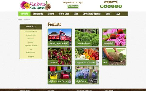 Screenshot of Products Page vanputte.com - Our Products | Rochester NY | Van Putte Gardens - captured Jan. 31, 2016