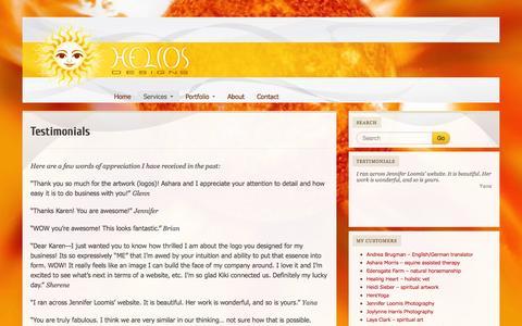 Screenshot of Testimonials Page helios-designs.com - Testimonials « helios-designs - captured Oct. 2, 2014