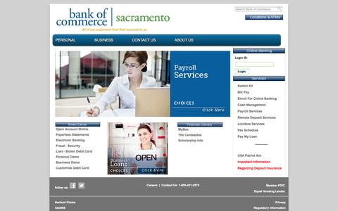 Screenshot of Home Page Privacy Page Contact Page Jobs Page rosevillebankofcommerce.com - Welcome to Bank of Commerce | Redding - captured Oct. 5, 2014