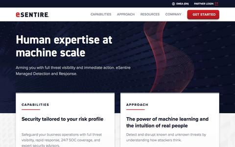 Screenshot of Home Page esentire.com - Human expertise at machine scale | eSentire - captured July 12, 2019