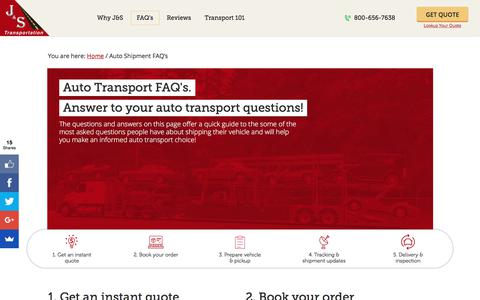 Screenshot of FAQ Page jandstransport.com - Do you have auto shipment questions and concerns? We have the answers. - captured Sept. 29, 2017